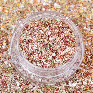GLITTER CRYSPI FLAKE red and gold